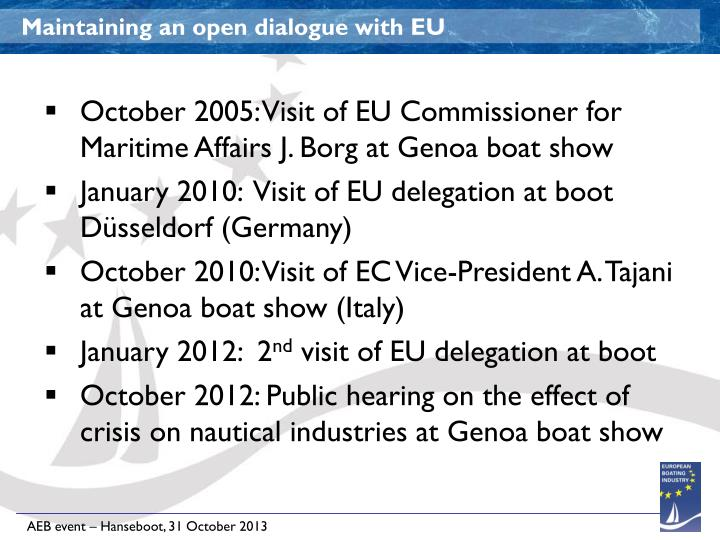 Maintaining an open dialogue with EU