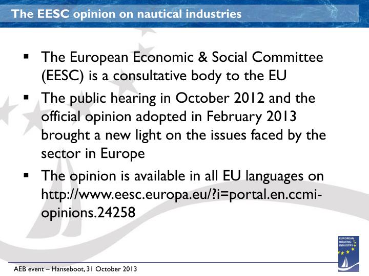 The EESC opinion on nautical industries