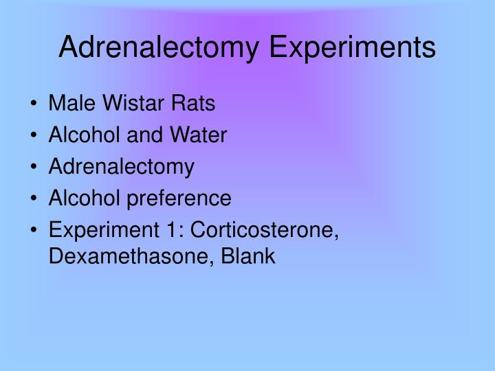 Adrenalectomy Experiments