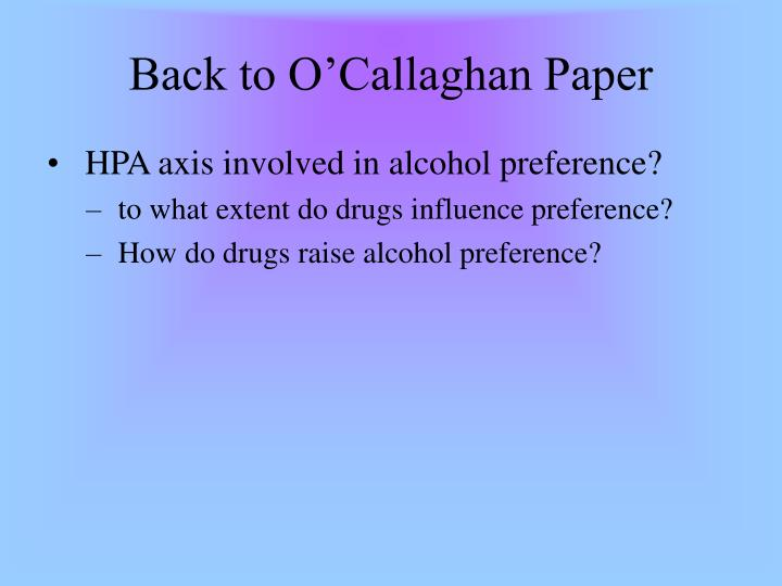 Back to O'Callaghan Paper