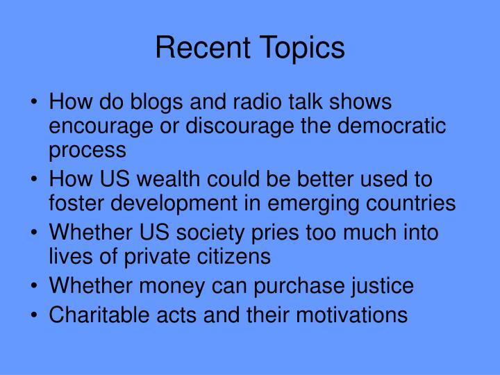Recent Topics
