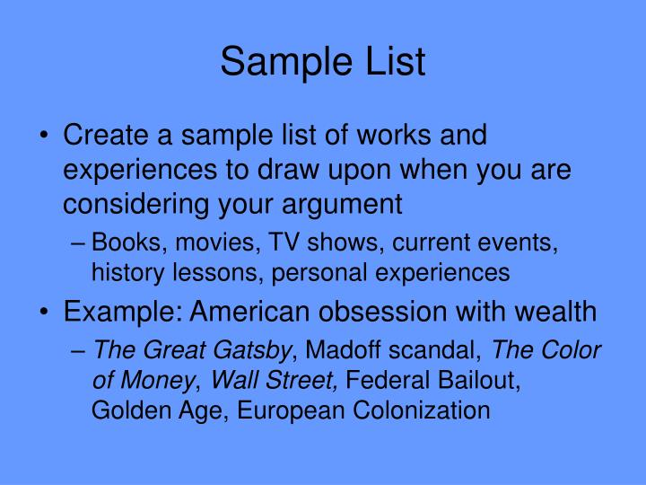 Sample List