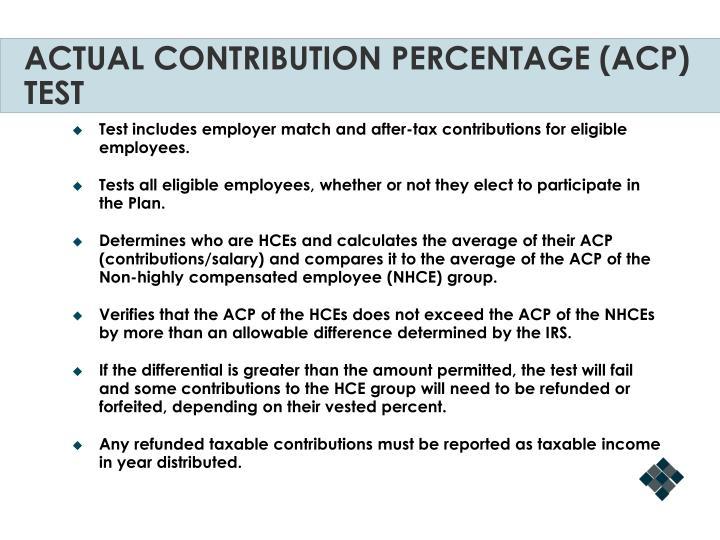ACTUAL CONTRIBUTION PERCENTAGE (ACP) TEST
