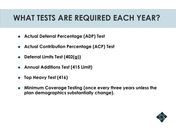 WHAT TESTS ARE REQUIRED EACH YEAR?