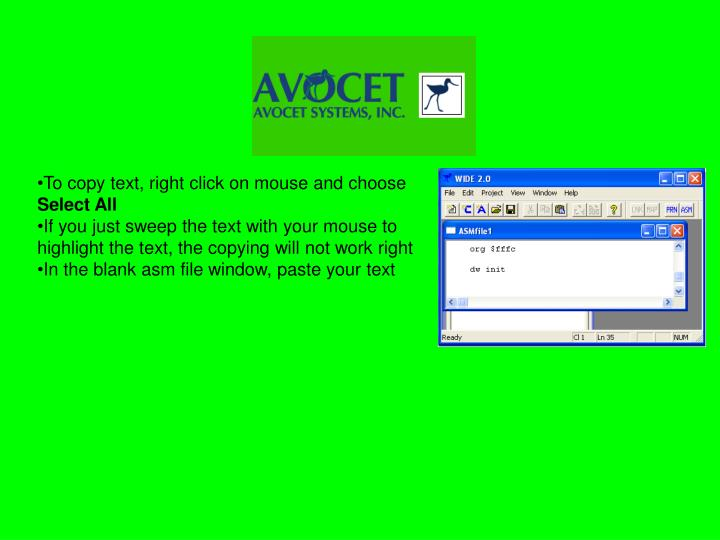 To copy text, right click on mouse and choose