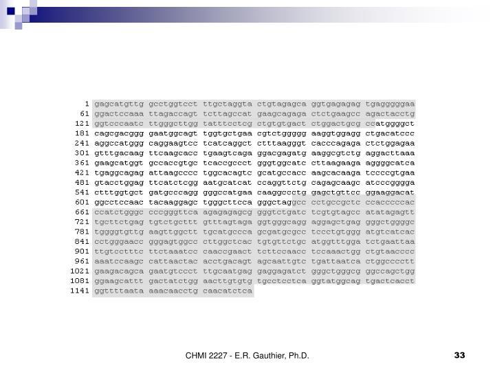 CHMI 2227 - E.R. Gauthier, Ph.D.