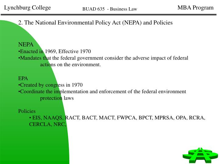 2. The National Environmental Policy Act (NEPA) and Policies