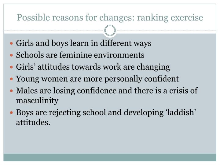 Possible reasons for changes: ranking exercise