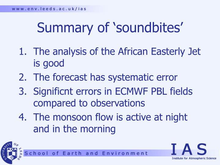 Summary of 'soundbites'