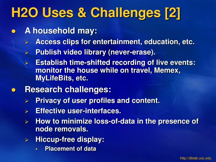 H2O Uses & Challenges [2]