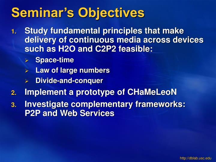 Seminar's Objectives