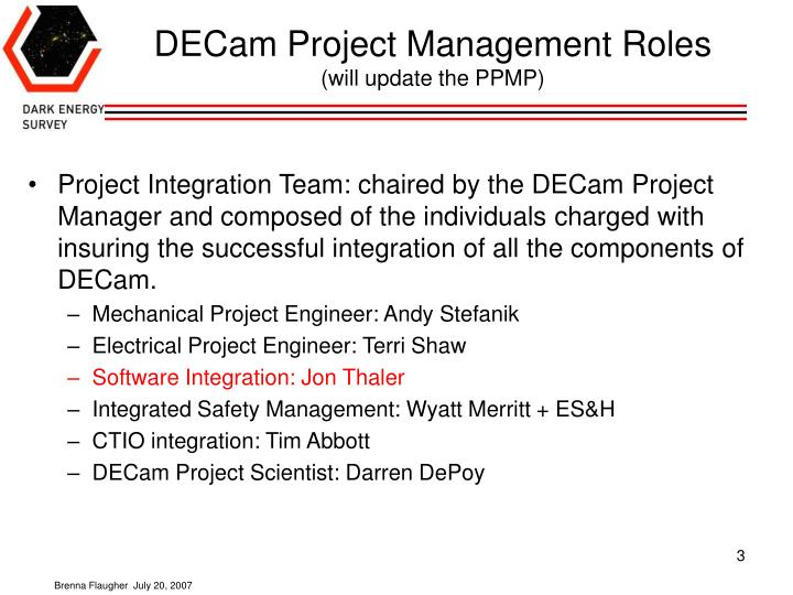 Decam project management roles will update the ppmp