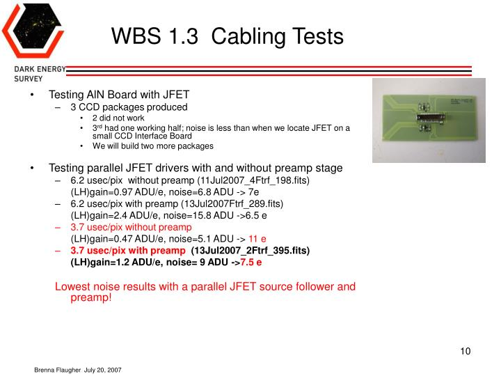 WBS 1.3  Cabling Tests