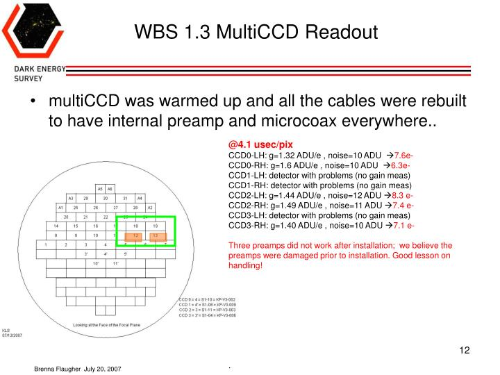 WBS 1.3 MultiCCD Readout