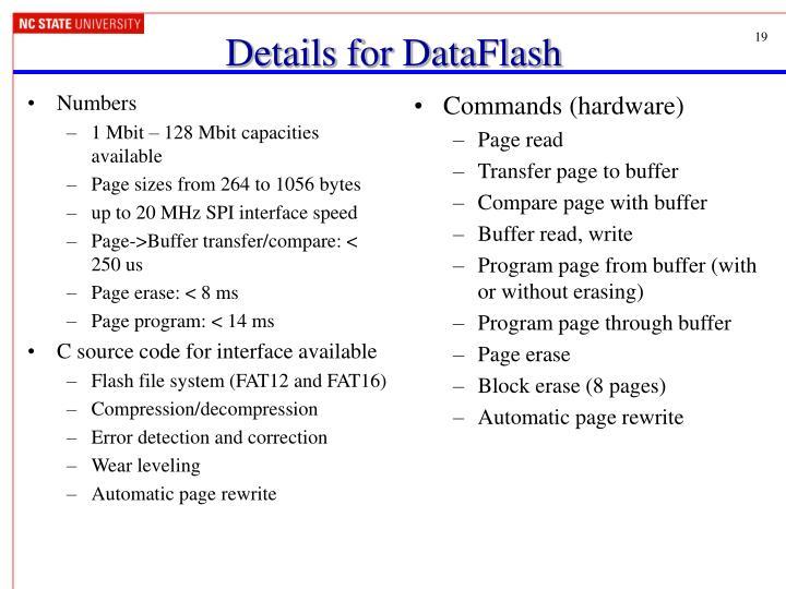 Details for DataFlash