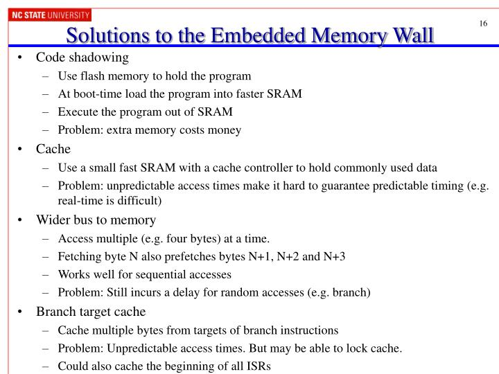 Solutions to the Embedded Memory Wall
