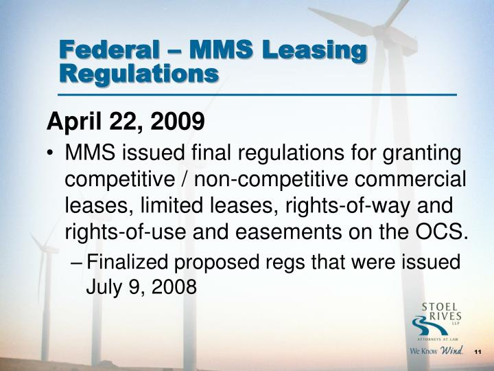 Federal – MMS Leasing Regulations