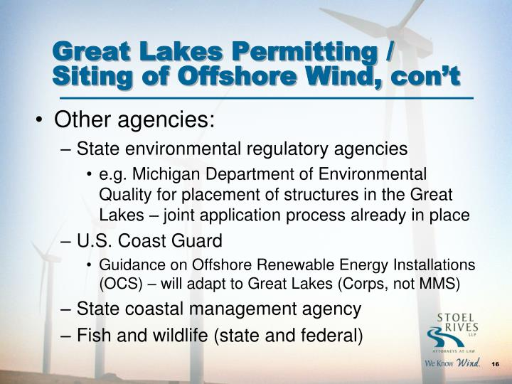 Great Lakes Permitting / Siting of Offshore Wind,