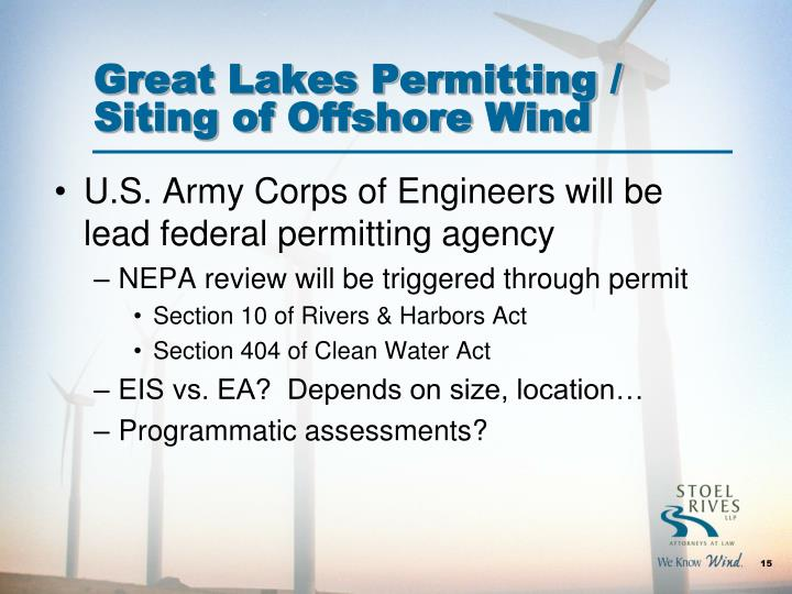 Great Lakes Permitting / Siting of Offshore Wind