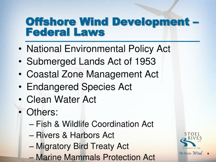 Offshore Wind Development –Federal Laws