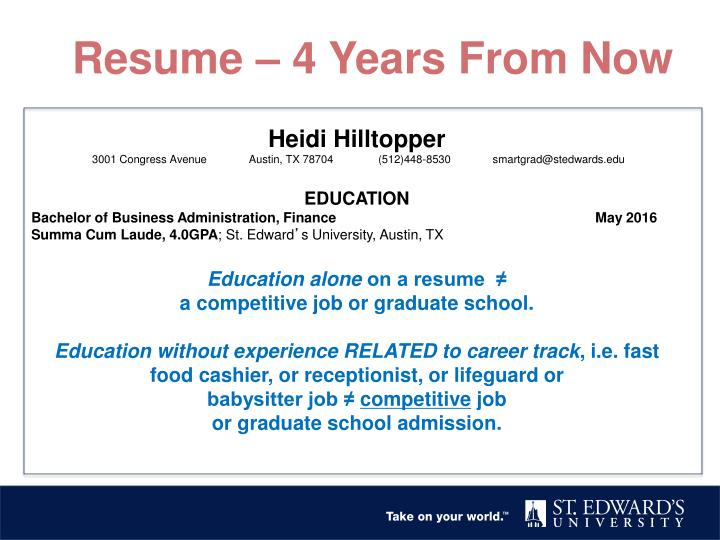 Resume – 4 Years From Now