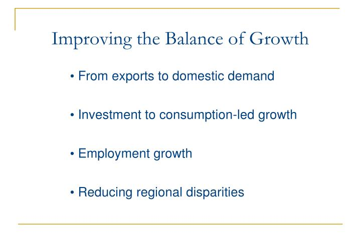 Improving the Balance of Growth