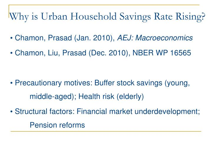 Why is Urban Household Savings Rate Rising?