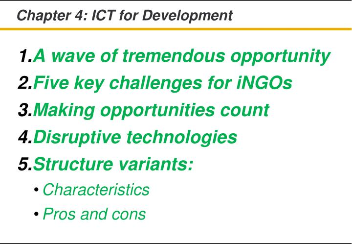 Chapter 4: ICT for Development