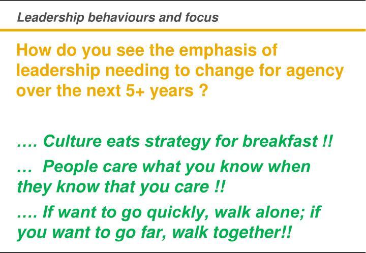 Leadership behaviours and focus