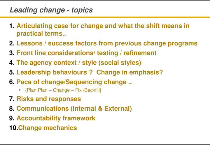 Leading change - topics