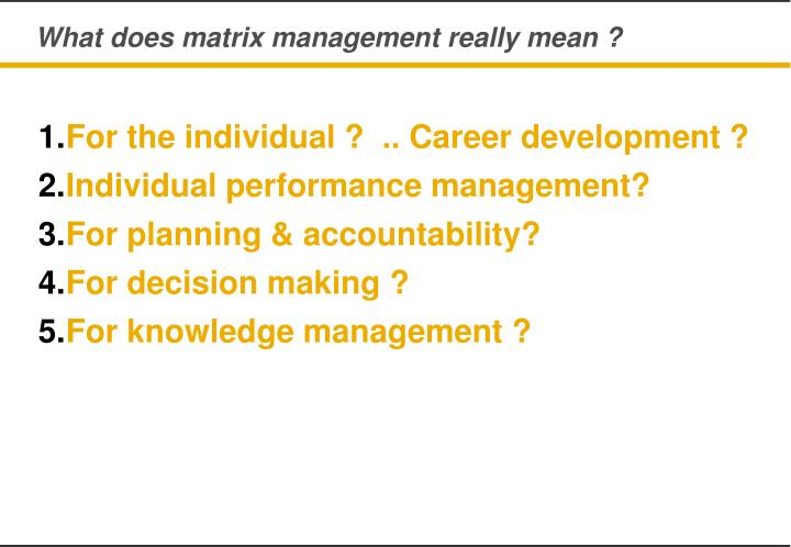 What does matrix management really mean ?