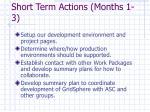 short term actions months 1 3