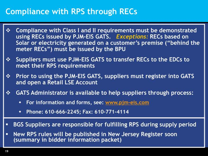 Compliance with Class I and II requirements must be demonstrated using RECs issued by PJM-EIS GATS.