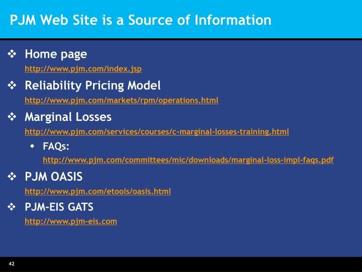 PJM Web Site is a Source of Information