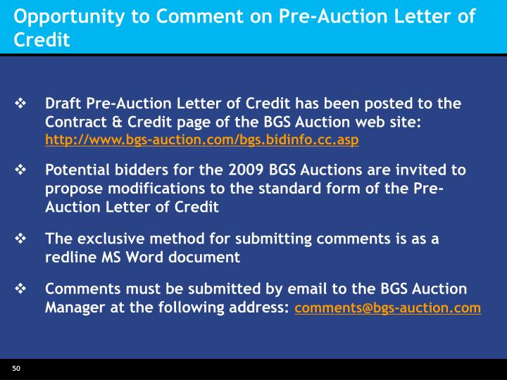 Opportunity to Comment on Pre-Auction Letter of Credit