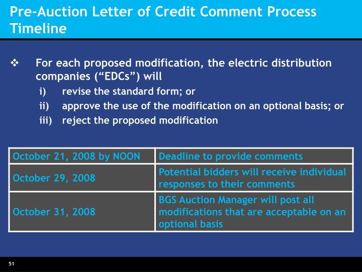 Pre-Auction Letter of Credit Comment Process  Timeline
