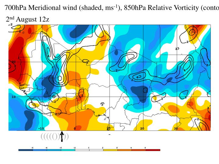 700hPa Meridional wind (shaded, ms