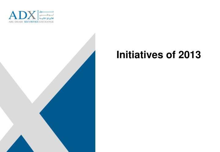 Initiatives of 2013
