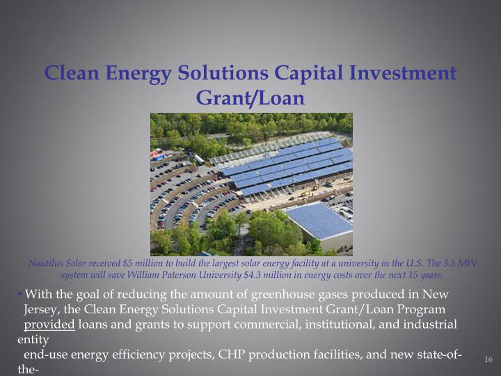 Clean Energy Solutions Capital Investment