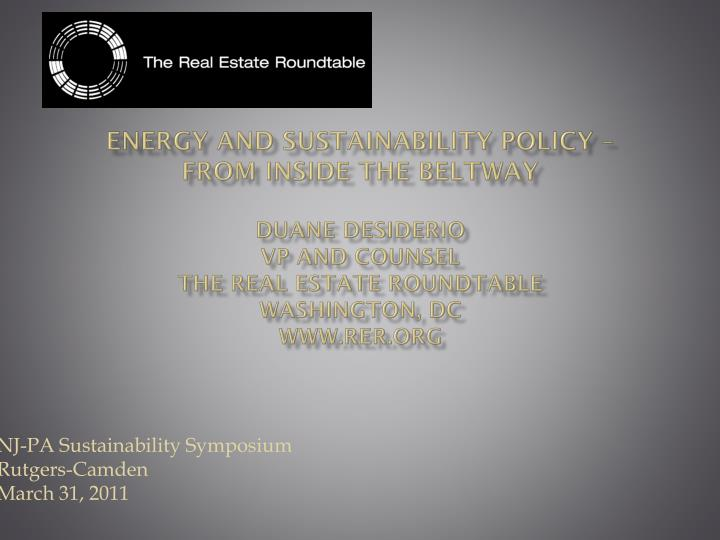 Energy and Sustainability Policy –