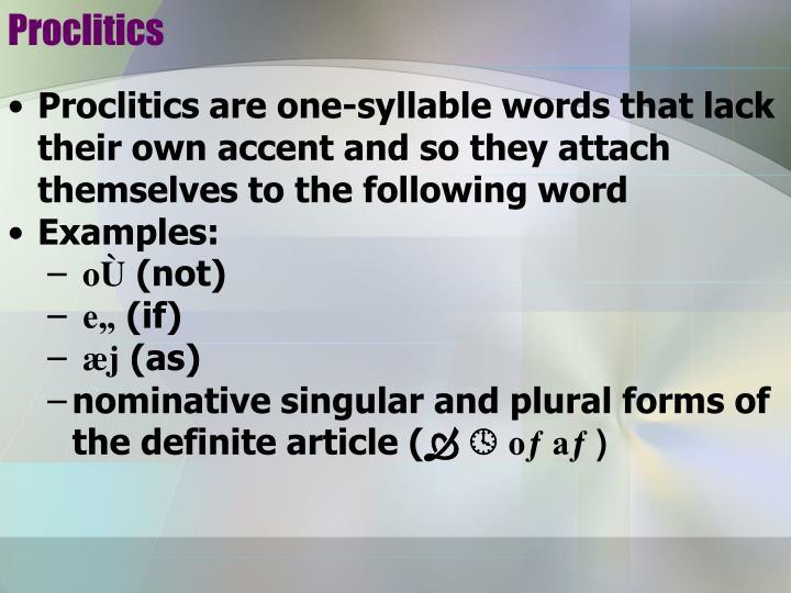 Proclitics