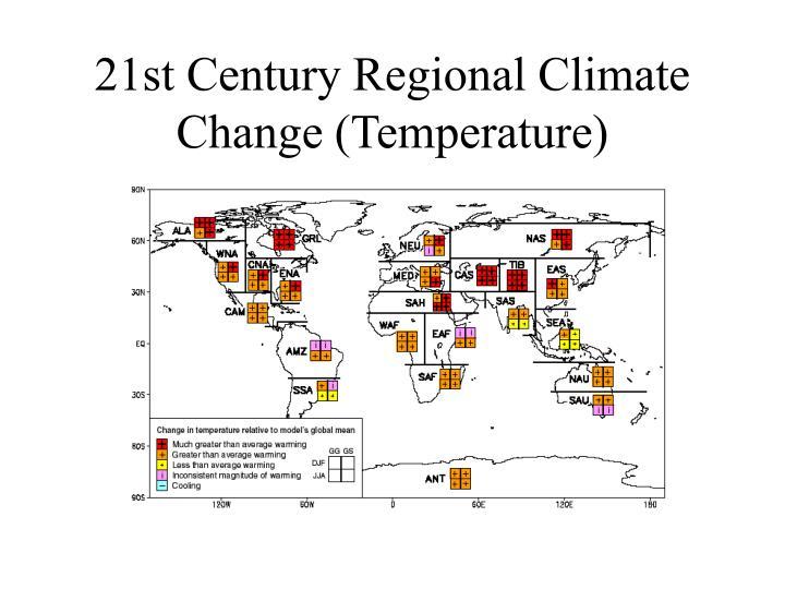 21st Century Regional Climate Change (Temperature)