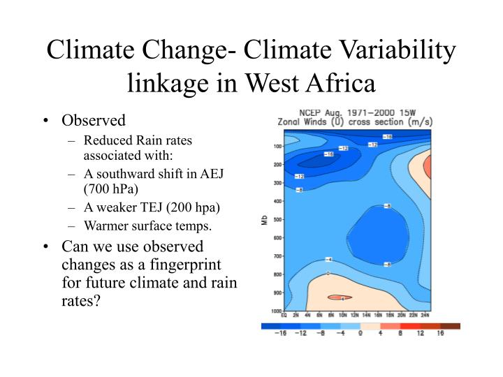 Climate Change- Climate Variability linkage in West Africa
