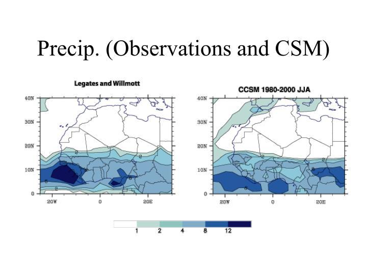 Precip. (Observations and CSM)