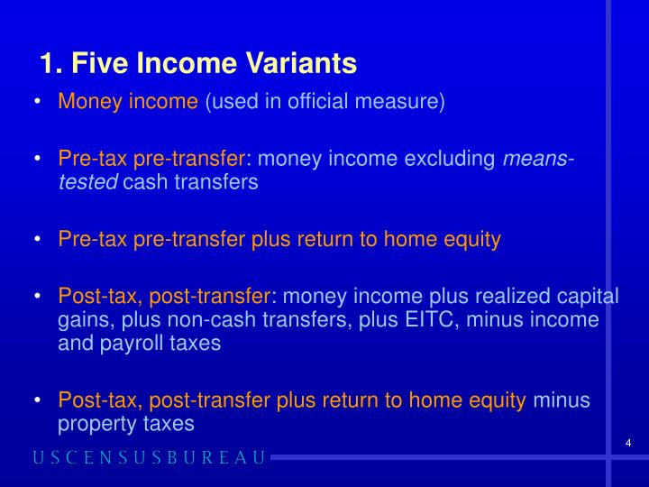 1. Five Income Variants