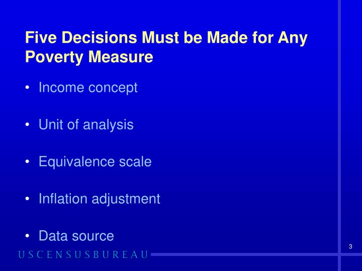 Five Decisions Must be Made for Any Poverty Measure