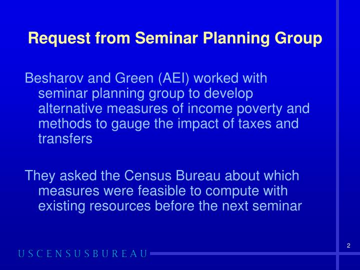 Request from Seminar Planning Group