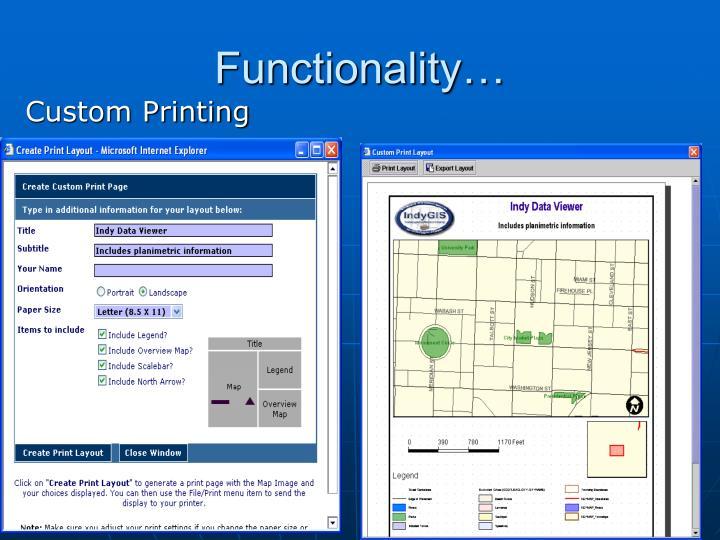 Functionality…