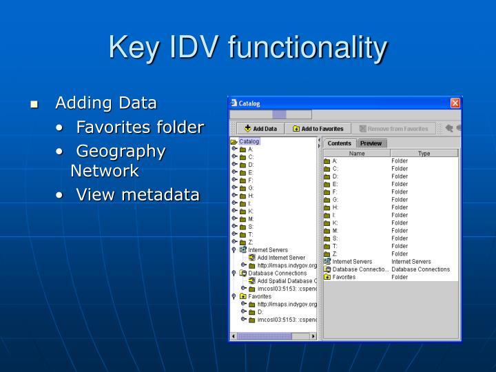 Key IDV functionality