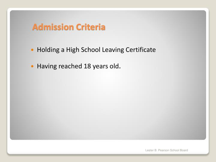 Holding a High School Leaving Certificate